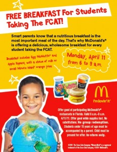 Free Breakfast at McDonald's on FCAT Day
