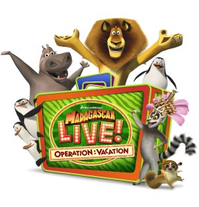 Madagascar Live! Operation Vacation Full logo with characters