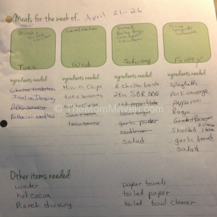 Time management for bloggers-household responsibilities-meal planning