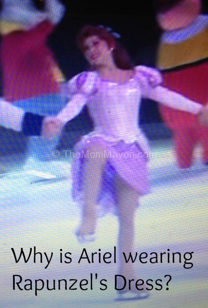 Ariel wearing Rapunzel's dress in Disney on Ice