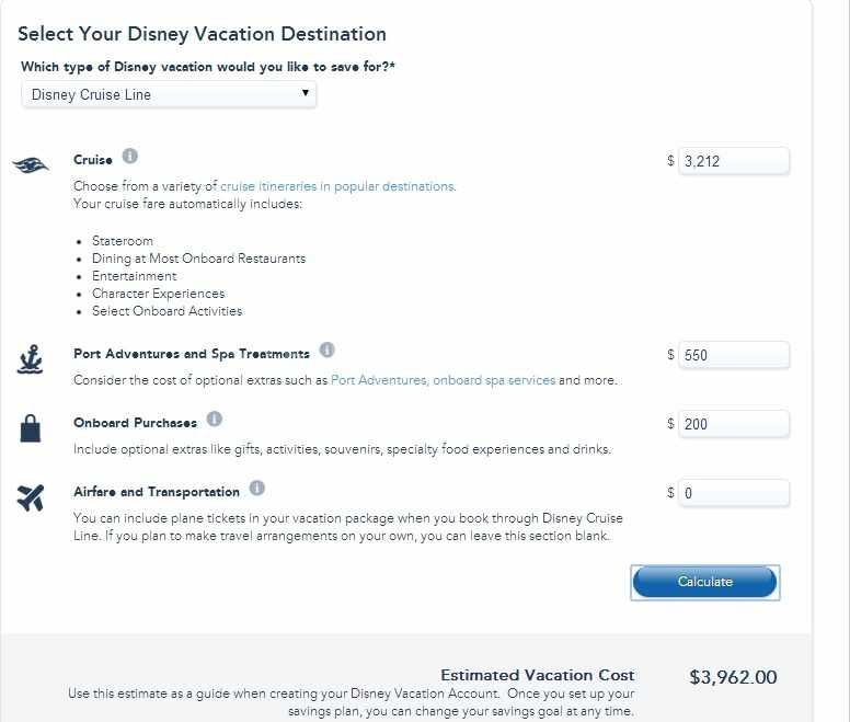 Disney Vacation Account Cost Estimator
