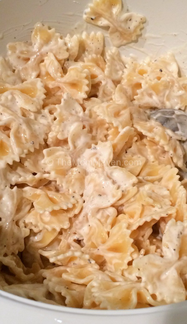 Easy Recipes-Mac Salad-Mixing sauce and pasta-TheMomMaven.com