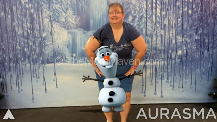 Olaf with Aurasma-Frozen Summer Fun-TheMomMaven.com