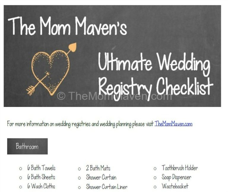 The Mom Maven S Ultimate Printable Wedding Gift Registry Checklist