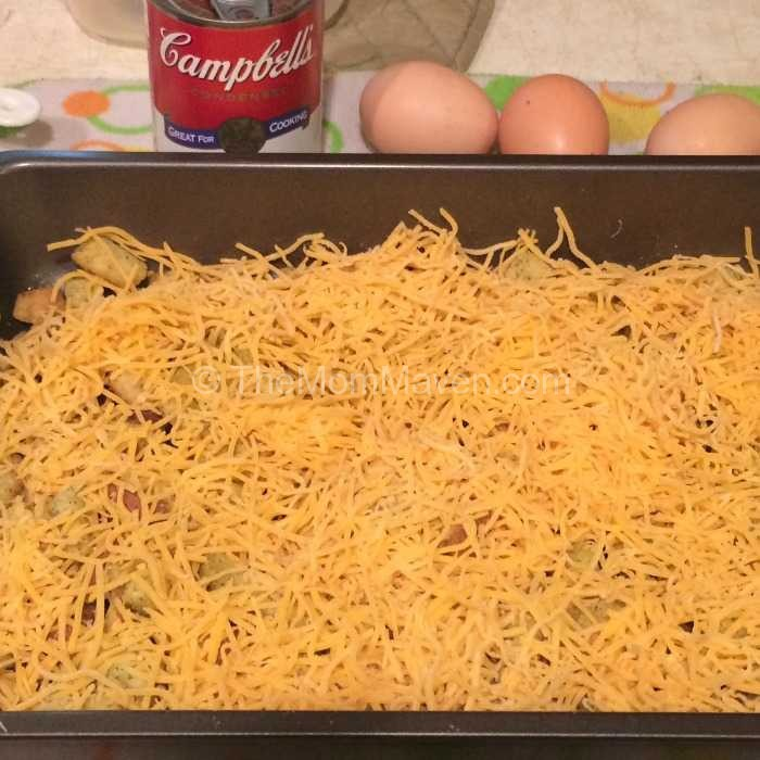 Overnight Breakfast casserole Cheese layer TheMomMaven,com