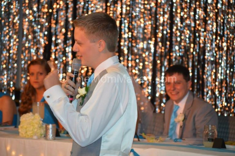 Jordan toasting his big brother and his new sister-in-law