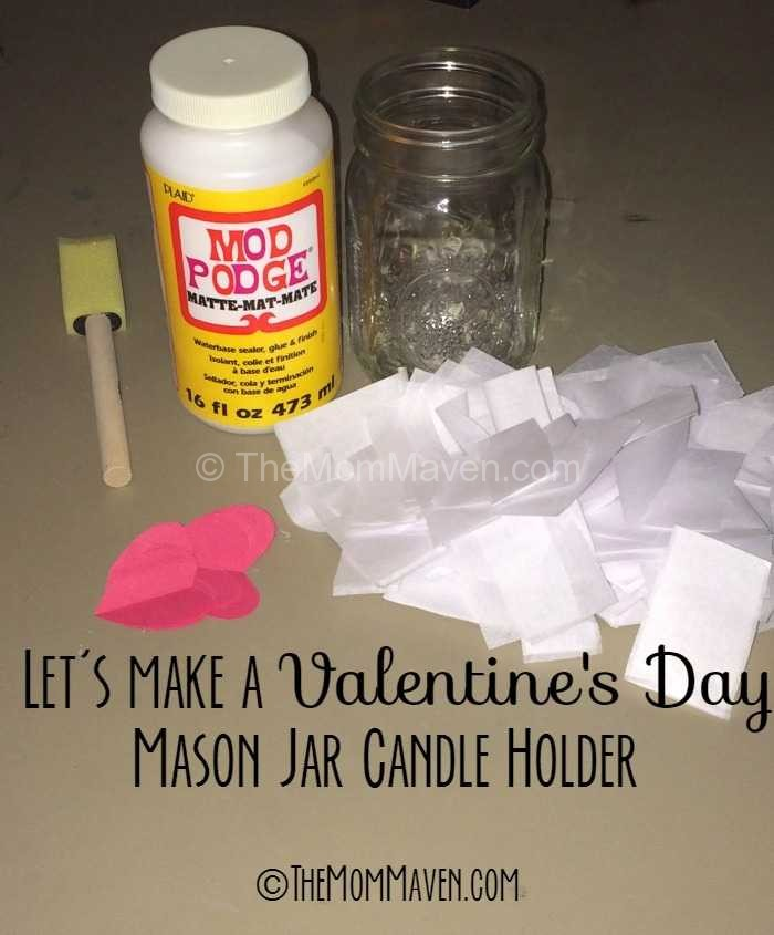 Let's make a Valentines Day Mason Jar Candle Holder