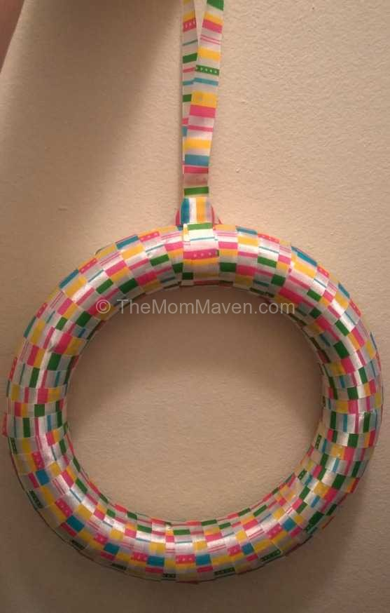 Create a ribbon loop for hanging-How to make an Easter egg wreath