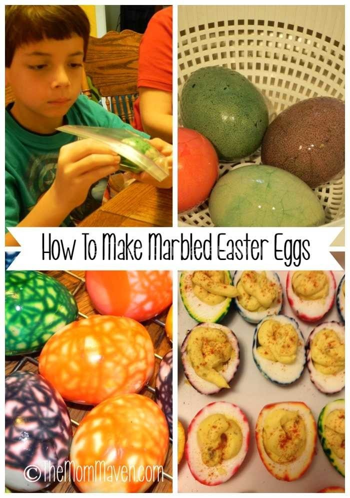 How to Make Marbled Easter Eggs collage