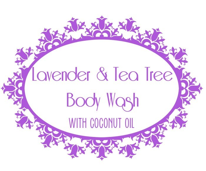 lavender and tea tree body wash label