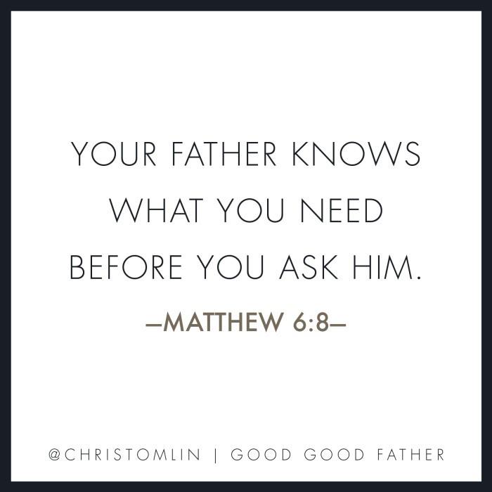 Matthew 6:8 Good Good Father