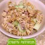 This easy Creamy Parmesan Ranch Pasta Salad recipe will be a delicious addition to your next summer party.