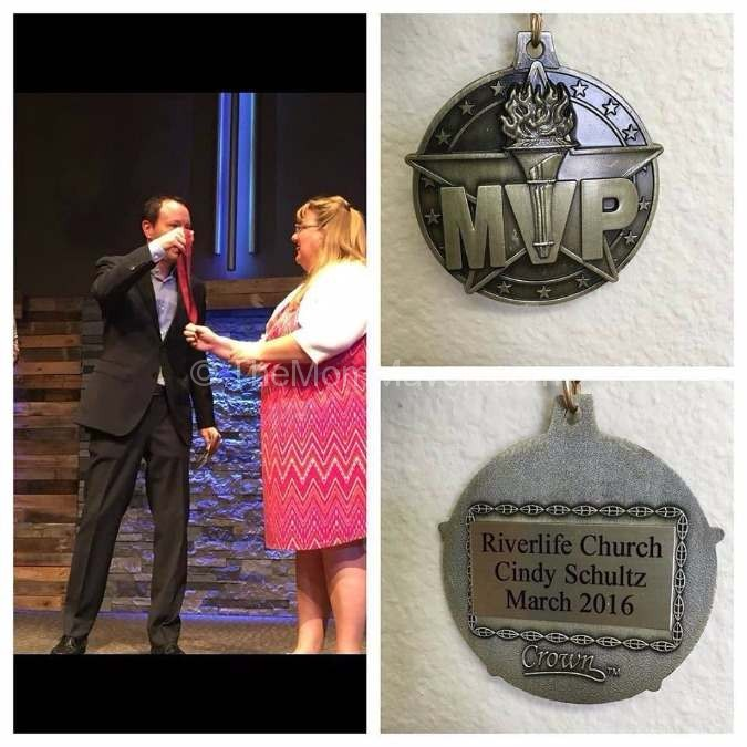 Receiving the MVP award for volunterrism.