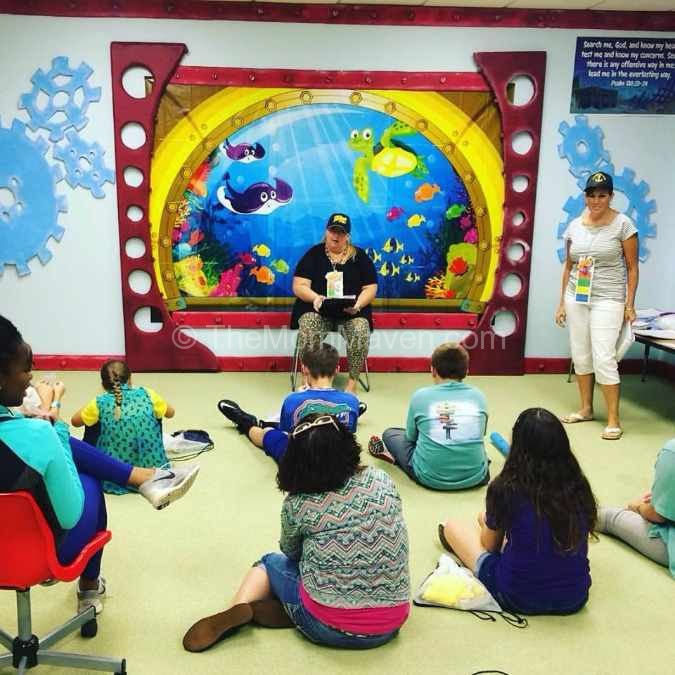 Teaching the Bible lesson to the Blue Team at VBS.