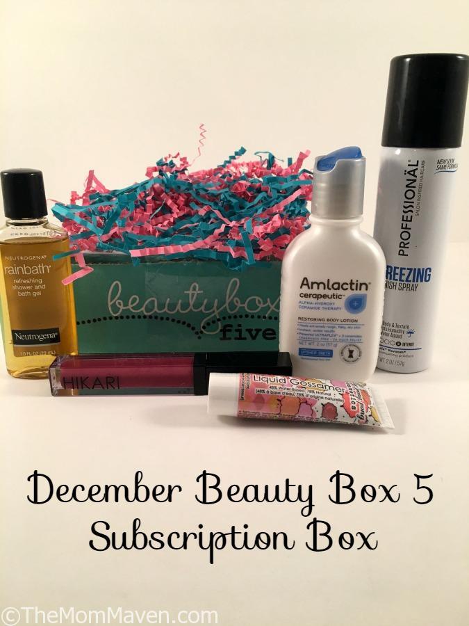 December Beauty Box 5 Subscription Box contents.