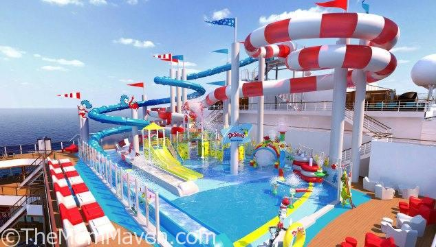 Carnival Cruise Line's newest ship, the 133,500-ton Carnival Horizon, will be the first in the fleet to feature Dr Seuss WaterWorks, a vibrant water park inspired by the whimsical world and words of the legendary children's author.