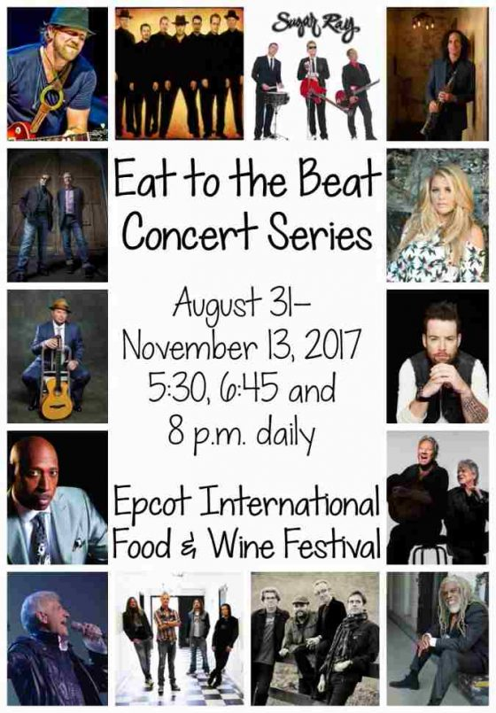 This year a record 32 musical acts will rev up the Eat to the Beat concert series during the 22nd Epcot International Food & Wine Festival Aug. 31-Nov. 13, 2017.