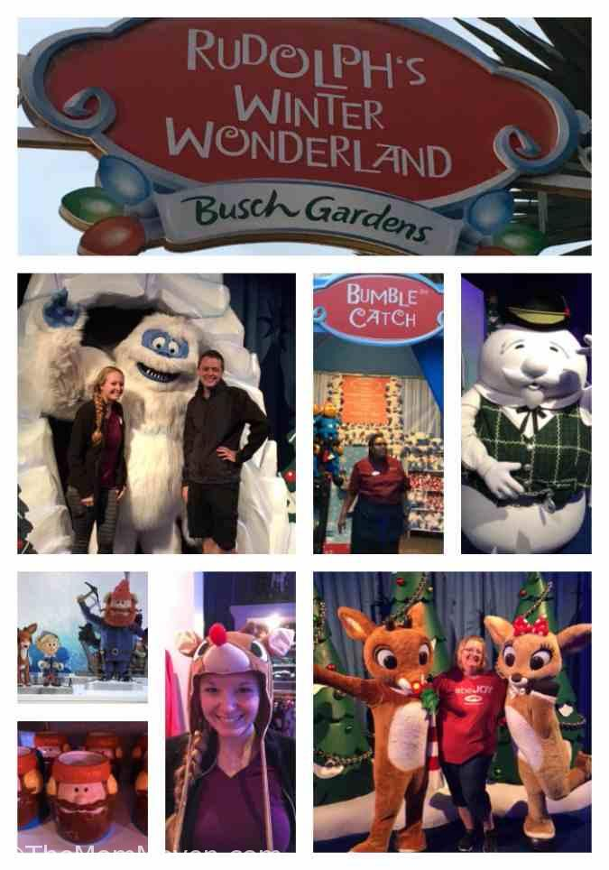 Meeting Rudolph and friends at Christmas Town. Christmas Town is taking place at Busch Gardens Tampa Bay on select nights through December 31st and is included in the price of admission