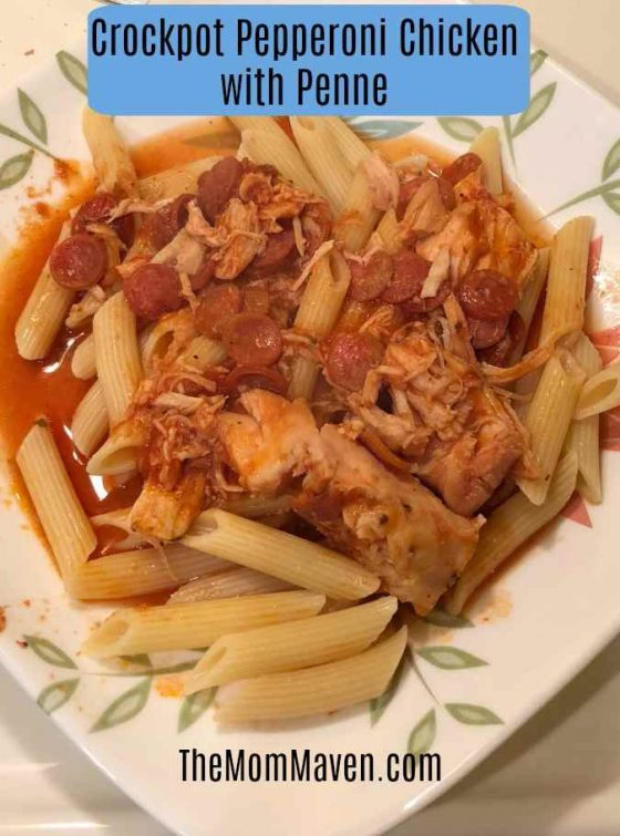 This crockpot Pepperoni Chicken with Penne recipe is a tasty light addition to your menu plan.