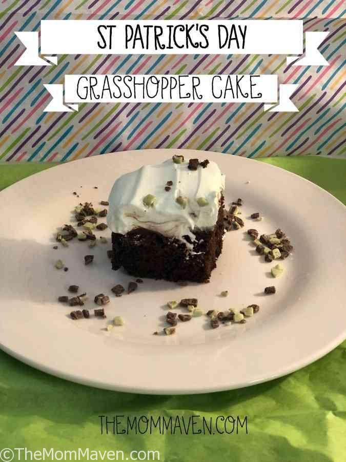 Celebrate on March 17th with this St Patrick's Day Grasshopper Cake. It's an easy-to-make minty poke cake the whole family will enjoy.