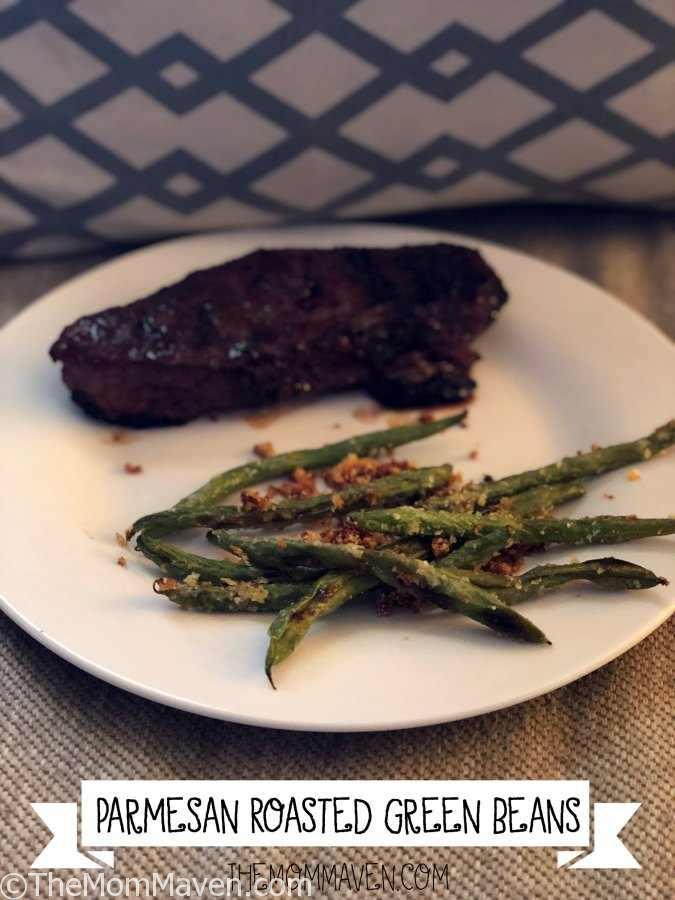 These Parmesan Roasted Green Beans are a delicious addition to any grilled meat. #recipe #greenbeans
