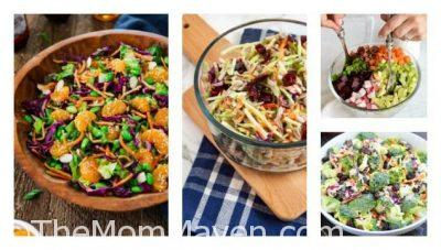 There are 14 creative summer coleslaws and chopped salads featured in this post. It is Part 1 in a series of summer salads, side dishes and dips. #recipes #summerrecipes #coleslawrecipe #choppedsalads