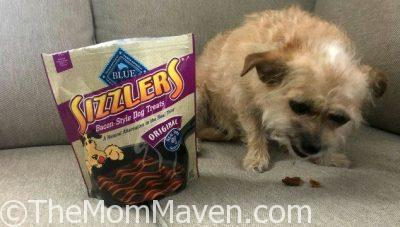 Blue Buffalo Sizzlers are bacon-style dog treats made with real pork as the first ingredient.