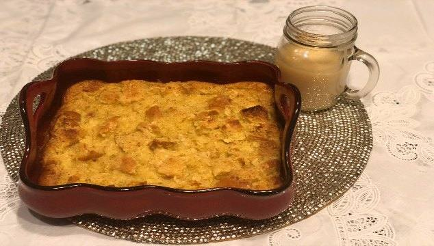 Eggnog Bread Pudding with Vanilla Sauce