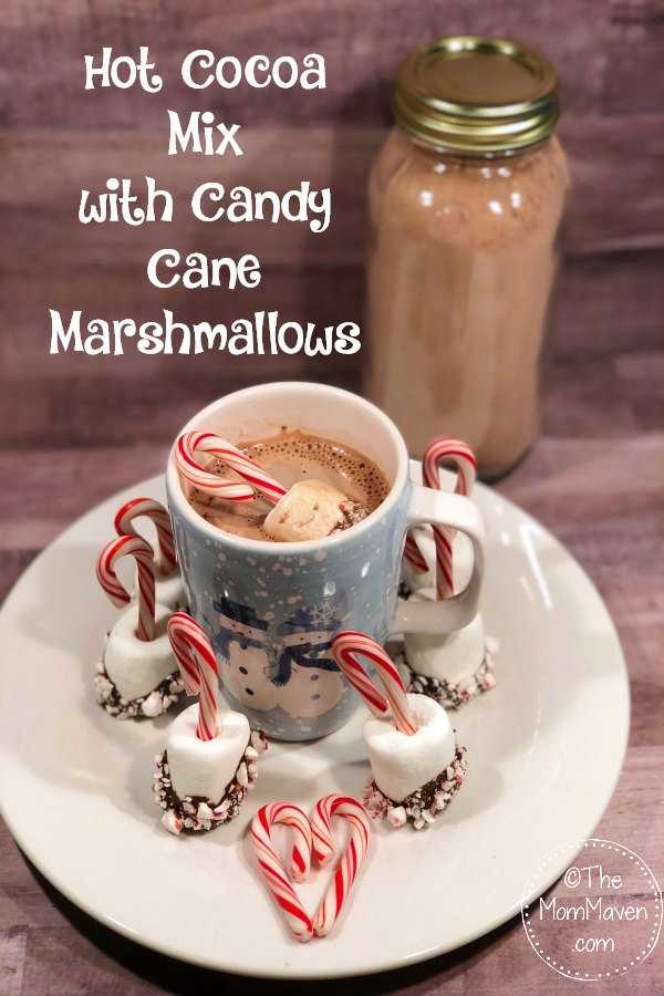 Need a last minute hostess gift? Whip up a batch of this Hot Cocoa Mix with Candy Cane Marshmallows and you will be all set, #recipe #hotcocoa