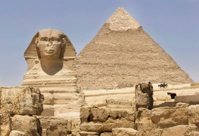 Egyptian Pyramid and Sphinx as seen on an Adventures by Disney vacation.