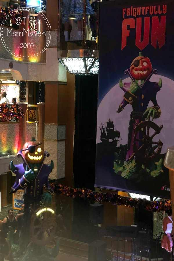 halloween atrium decor on the carnival cruise liberty