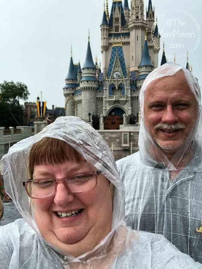 rainy day at disney world castle selfie-themommaven.com