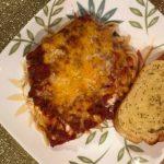 pizza spaghetti casserole plated