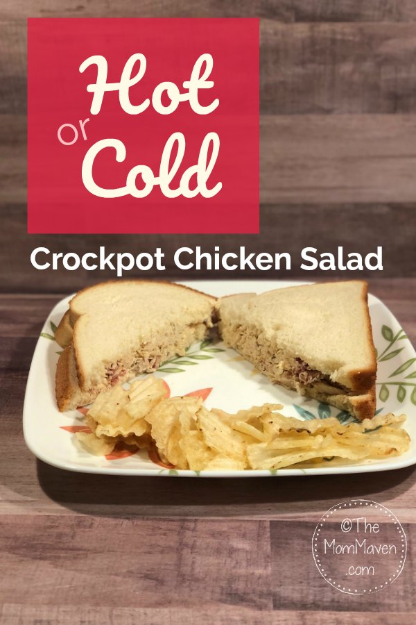 This multifunctional hot or cold crockpot chicken salad recipe can be served as an entree, a hot sandwich, a cold sandwich, or as a dip with potato chips! Whatever suits your family's needs.