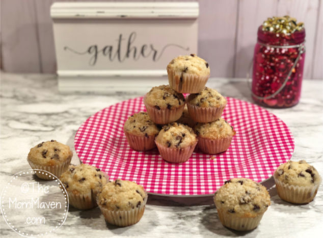 This easy mini chocolate chip muffin recipe makes 48 muffins. They are perfect on a brunch menu, to be shared at a meeting, or as a snack for the kids.