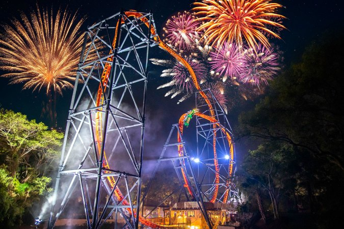 Fireworks over Tigris at Busch Gardens Tampa Bay