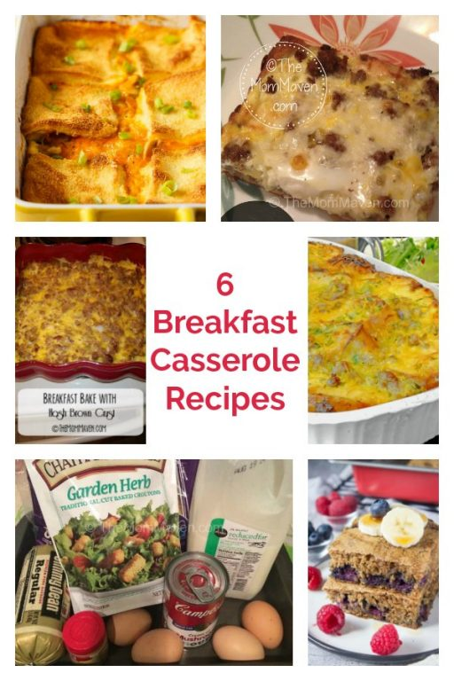 Collage of 6 Christmas Breakfast Casseroles