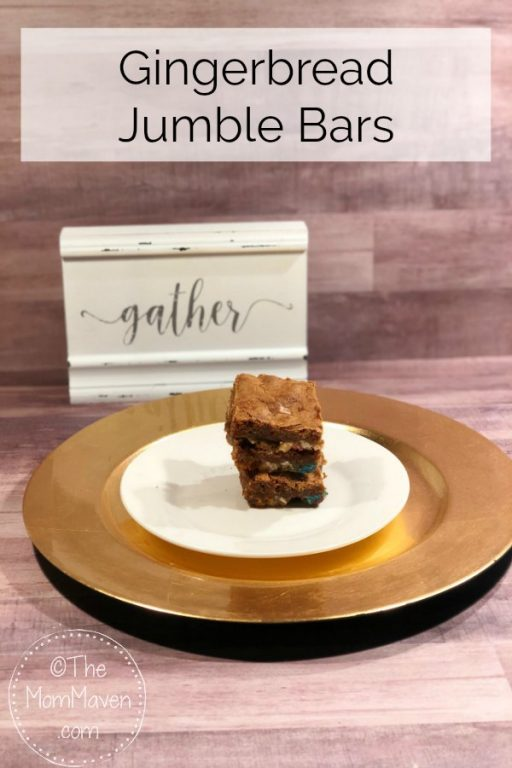 Gingerbread Jumble Bars are the best of both worlds, soft gingerbread bar cookies with white chocolate chips and M&M candies mixed in.
