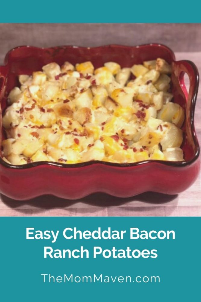 Side dishes don't get much easier than these Easy Cheddar Bacon Ranch Potatoes. If you can chop, measure, and bake you have all the skills you need!
