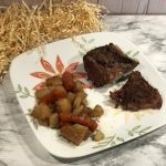 I needed and easy family meal for Ron's birthday celebration. I created this easy crockpot roast recipe using pantry staples, baby carrots, and potatoes.