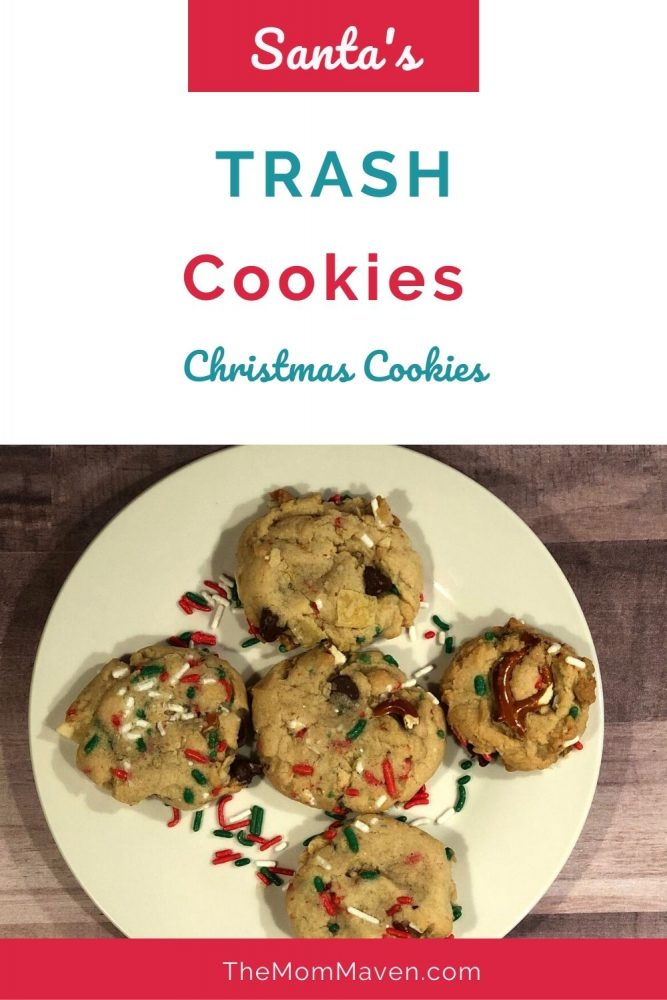 The kids love helping crush up the potato chips and pretzels for this sweet and salty Santa's Trash Cookies recipe. #1 top recipe of 2020