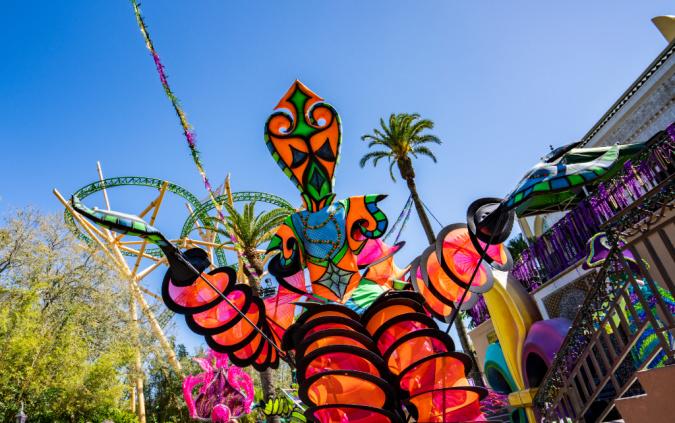 Physically distant street performers will periodically stroll through Busch Gardens' Mardi Gras Celebration