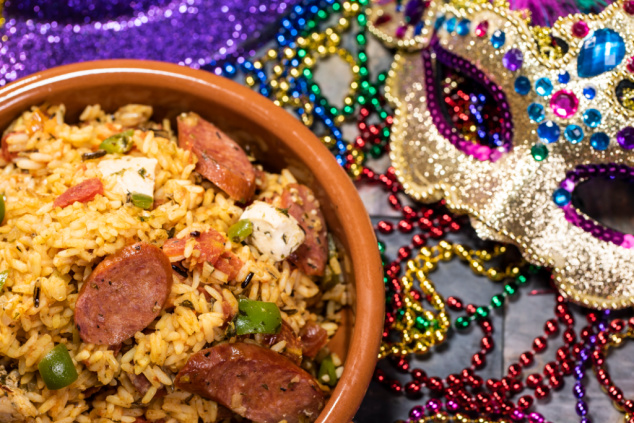 Savory Cajun delights including jambalaya will tempt guests' taste buds at Busch Gardens' Mardi Gras