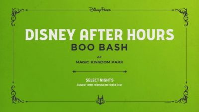 Walt Disney World has announced Disney After Hours BOO BASH will be coming to the Magic Kingdom on select nights from August 10- October 31, 2021.